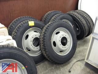 (4) Continental HDR 225/70R19.5 Tires & Rims