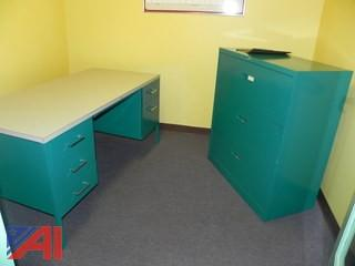 Lot of 4 Desks and 3 Lateral Filing Cabinets