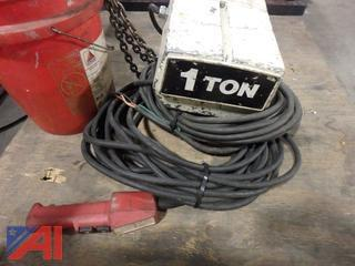 Coffing 1 Ton electric hoist with 120' chain drop