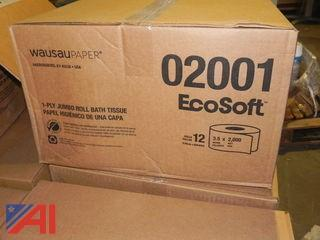 NEW-Lot of 57 Boxes (650+ Rolls) EcoSoft Jumbo Roll Toilet Paper