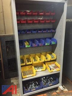 Industrial Shelf/cabinet Loaded With New Hardware & Akro Bins
