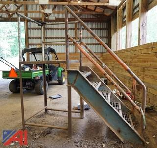 Solid Steel Stair & Platform With Handrails