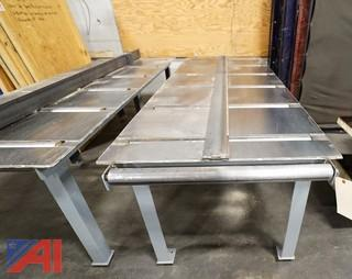 (2) Custom Built 8' HD Steel Roller In & Out Feed Tables