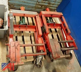 (2) Skarnes M4 Hydraulic Rol-A-Lift Hydraulic 2,000Lb Rigging Dollies