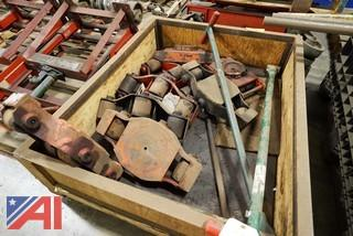 (8) Assorted Heavy Machine Skates In Crate/Rigging/Moving