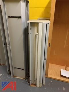 Lot of 5 Large Maple Veneer Storage Racks w/ Metal Wall Units