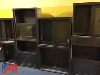 Lot of 17 Wood Case, Wall Mounted, Sliding Glass Door Cabinets