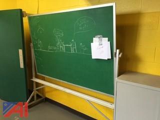 1- Green Chalk Board on Casters 1-  Metal Cabinet
