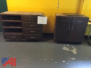 2- Base Cabinet Units w/ Some Drawers 1- Table