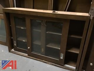 Lot of 15 Wood Case, Wall Mounted, Sliding Glass Door Cabinets