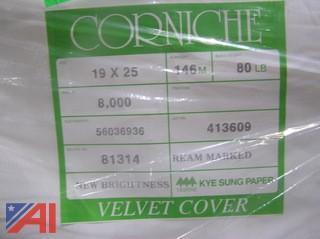 Pallet of Corniche 80# Velvet Dull Cover Paper