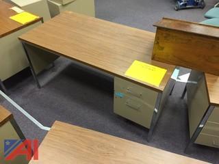 Lot of Metal Desks w/ Formica Tops