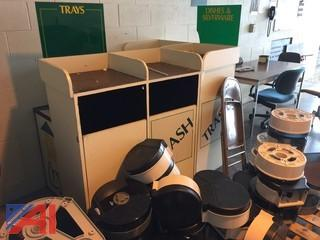 Lot of Approximately 70 Toilet Paper Dispensers and 70 Paper Towel Dispensers & 3 Garbage Cans