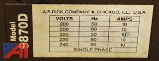 AB Dick 9870-D Offset Press